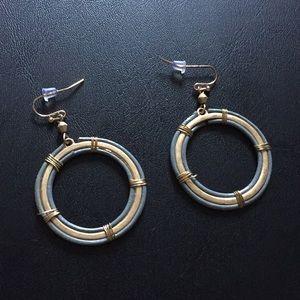 Grey and tan circular earrings